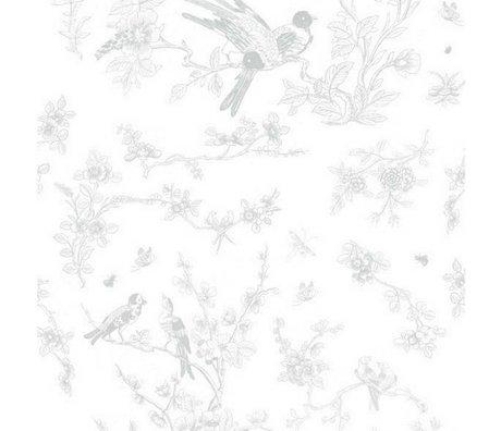 KEK Amsterdam Wallpaper Birds & Blossom Gray Fleece Paper 97.4x280cm