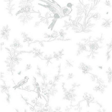 KEK Amsterdam Oiseaux Fond d'écran et papier fleur polaire gris 97,4x280cm