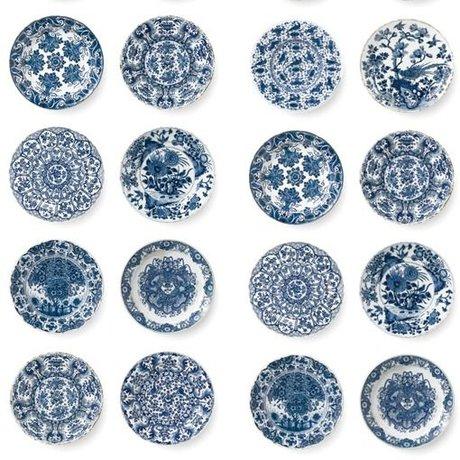 KEK Amsterdam Behang Royal blue plates blauw vliespapier 97,4x280cm