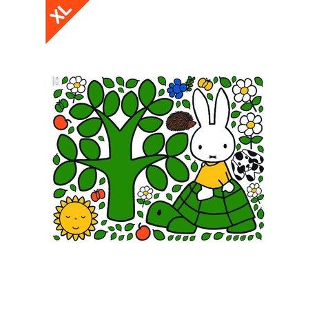 KEK Amsterdam Muursticker Nijntje op een schildpad multicolour vinylfolie XL 95x120cm