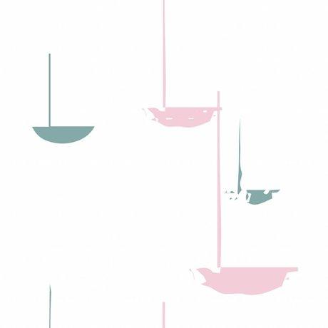 Roomblush Behang Go with the flow roze papier 1140x50cm