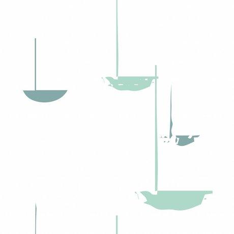 Roomblush Fond d'écran au papier peint tissé vert menthe flux 1140x50cm
