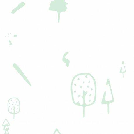 Roomblush Fond d'écran Tissés vert menthe forêt papier peint 1140x50cm