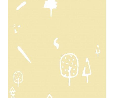 Roomblush papier peint forêt sauvage tissé papier peint jaune 1140x50cm