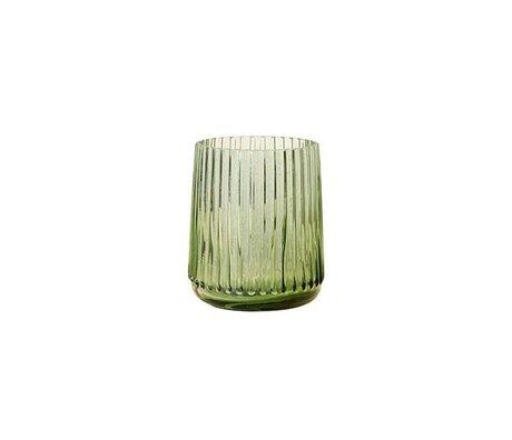 HK-living Vase S green glass 9,5x9,5x11cm