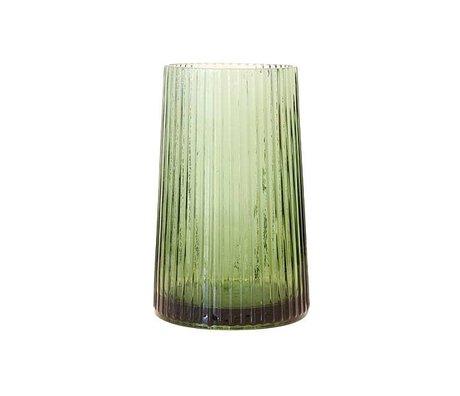 HK-living Vase M green glass 13x13x20cm