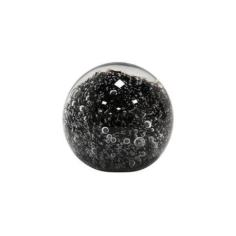 HK-living Glazen bol zwart presse papier 6,4x6,4x6,4cm