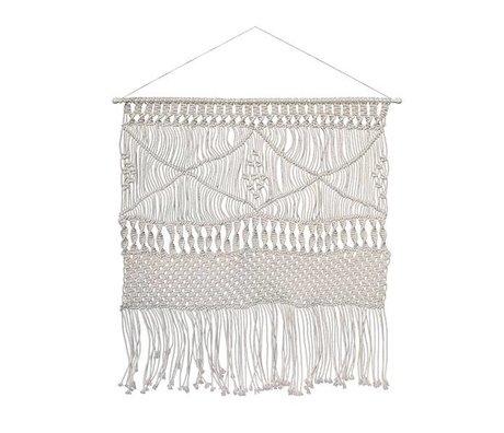 HK-living Tapestry Bohemian weiße Baumwolle 140x150cm