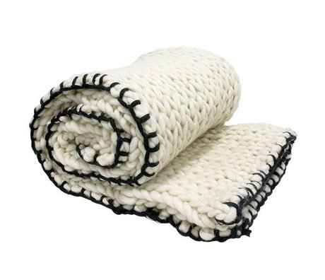 HK-living Bedspread knitted black white wool 120x180cm