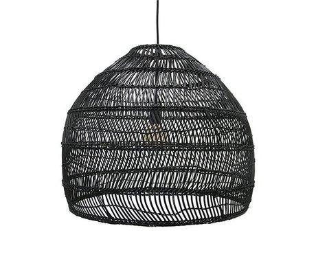 HK-living Hanglamp handgevlochten zwart riet 60x60x50cm