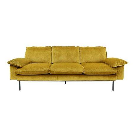 HK-living Bank Trendy Ocher 4-zits yellow velvet 245x83x95cm