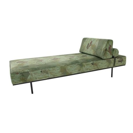 HK-living Bank Daybed Tropical green print velvet 200x80x41cm