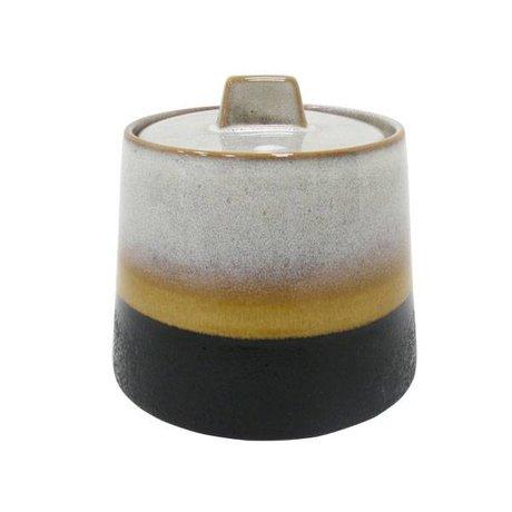 HK-living Sugar Pot Elements' 70's style multicolour ceramics