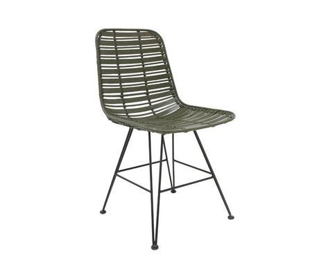 HK-living Dining chair Hokaido olive green rattan 44x57x80cm