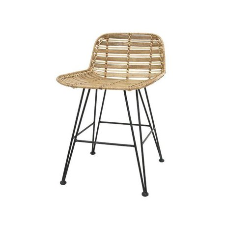 HK-living Mini-rotin Barstool brun naturel 50x42x65cm
