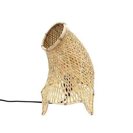 HK-living Tafellamp organisch riet bruin M 22x22x35cm