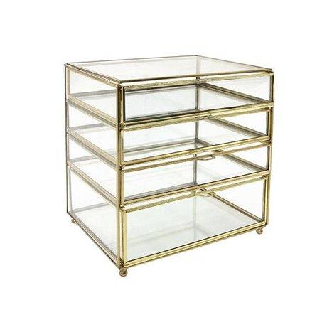 HK-living Gold Messing Schreibtischschublade Glas 27x26x20cm