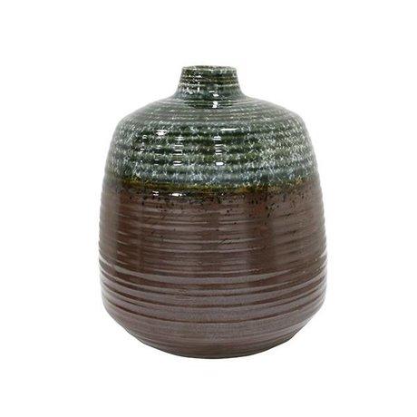 HK-living Vase 16x16x19,4cm brun vert en céramique
