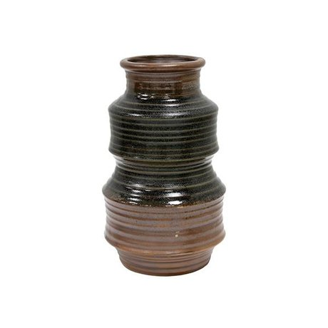 HK-living Vase braun retro Keramik 12x12x20cm