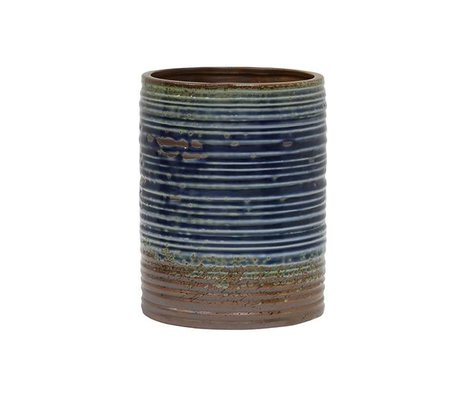 HK-living Flowerpot blue brown ceramic 15,5x15,5x20cm