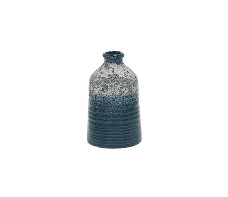 HK-living S blaue Keramik-Vase 8,2x8,2x12,8cm
