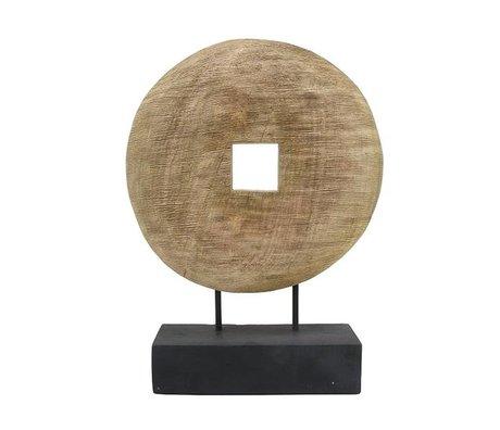 HK-living Ornament Wiel naturel bruin hout 33,5x9x44cm