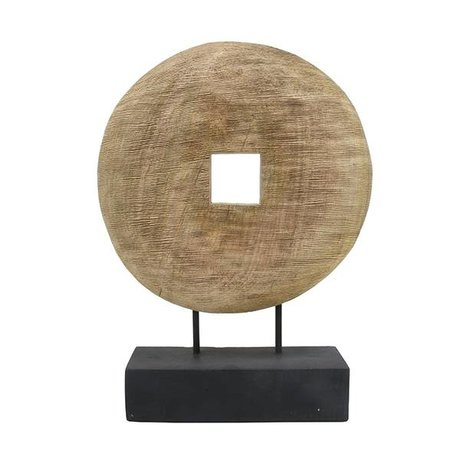 HK-living Roue ornement bois brun naturel 33,5x9x44cm
