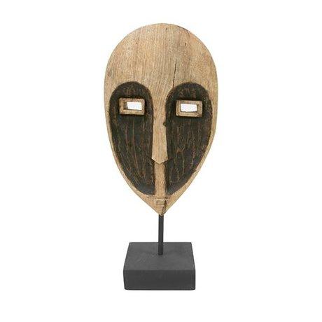 HK-living Ornament Papua masker bruin hout 17x10x37cm