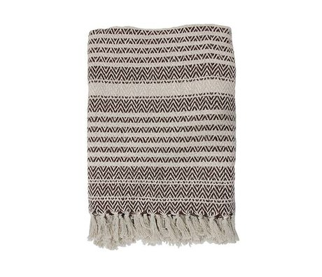 HK-living Bedspread Zigzag naturbraun Baumwolle 130x170cm