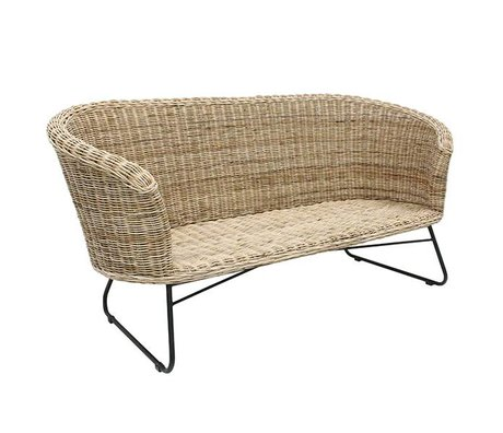 HK-living Bankje Sofa naturel bruin rotan 155x70x74cm
