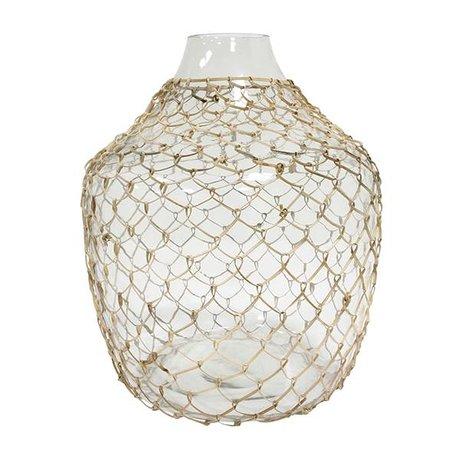HK-living Vase with braid transparent glass 30x30x32,5cm