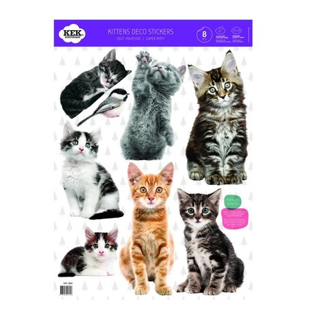KEK Amsterdam Muursticker Set kittens multicolour vinylfolie 42x59cm
