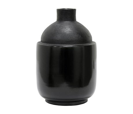 HK-living Vaas M chulucanas zwart keramiek 16,5x16,5x26cm