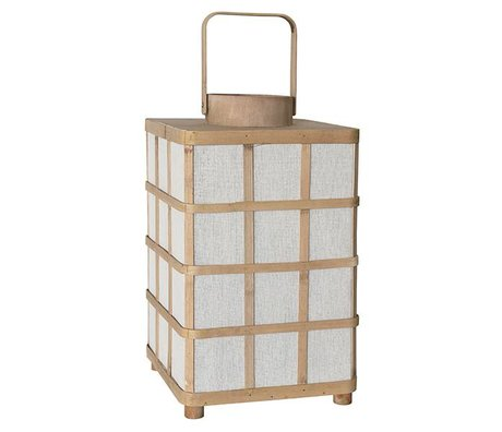 HK-living Lantern square natural brown bamboo 24,5x24,5x41cm