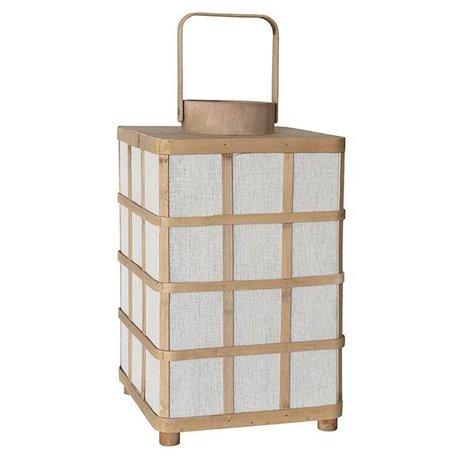 HK-living Lantaarn vierkant naturel bruin bamboe 24,5x24,5x41cm