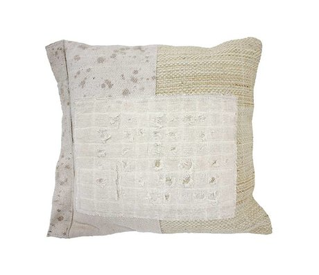 HK-living Cushion Denim patched cream white cotton 50x50cm