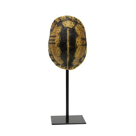 HK-living Artificial turtle shield yellow black plastic 12x11,5x32cm