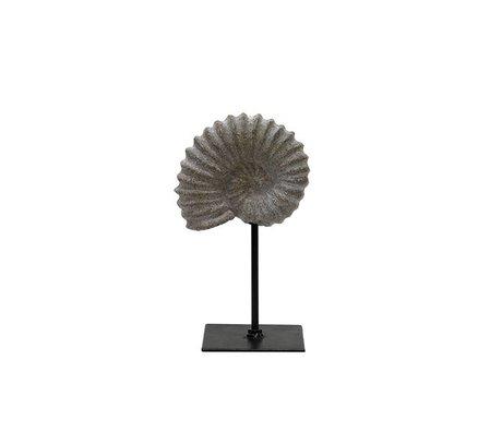 HK-living Artificial fossil braun grau Kunststoff 11x8x19cm