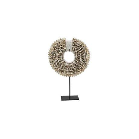 HK-living Ornament Papua S cream white shell 20x7x29cm