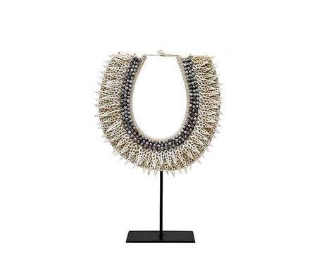 HK-living Ornament Papua L creme wit schelp 31x9x42cm