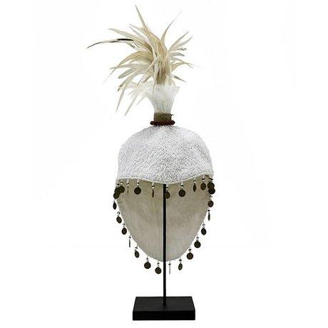 HK-living Ornament Papua hoed creme wit schelp 18,5x18,5x28cm