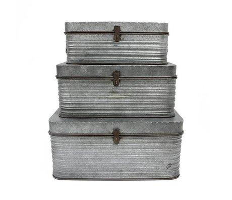 HK-living Opbergkist grijs metaal set van 3