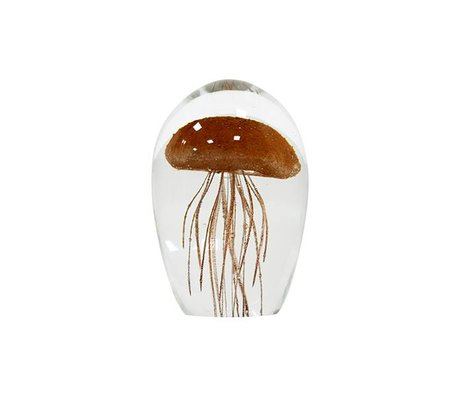 HK-living Ornament kunstmatige kwal M koraal oranje glas 7,5x7,5x11,5cm