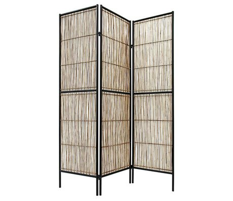 HK-living Kamerscherm zwart naturel bruin bamboe 139x2x180cm