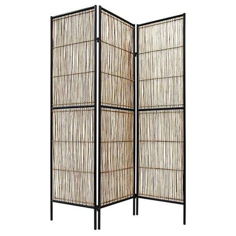 HK-living Cloison de séparation noir brun naturel bambou 139x2x180cm