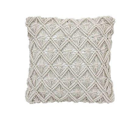 HK-living Cushion macramé natural brown cotton 45x45cm