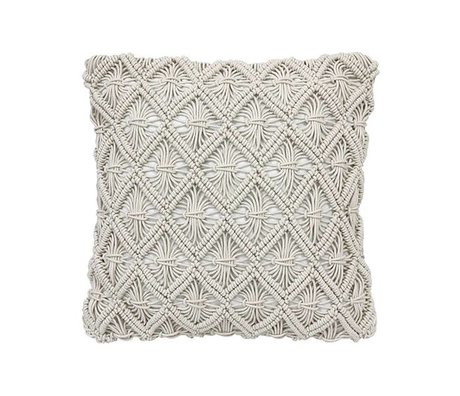 HK-living oreiller macramé de coton brun naturel 45x45cm