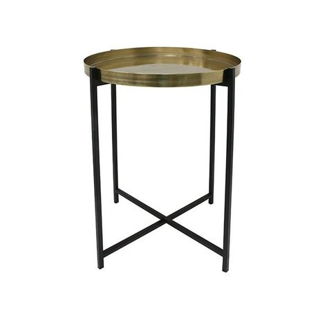 HK-living Table d'appoint M laiton 40x40x55cm noir en laiton