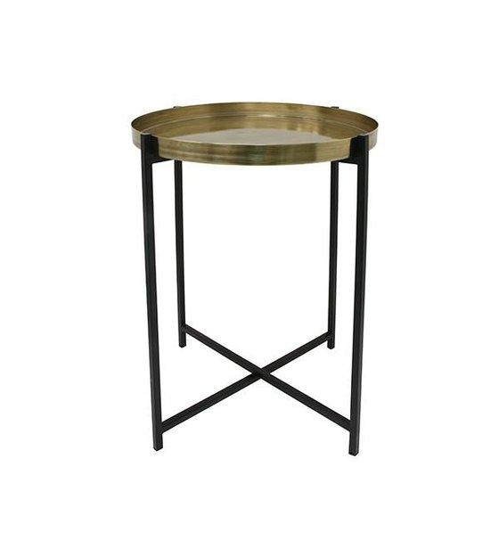 Hk Living Side Table M Yellow Copper Black Brass 40x40x55cm Wonen Met Lef
