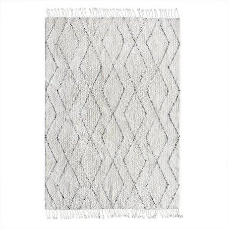 HK-living tissés à la main tapis berbère coton blanc gris 140x200
